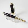Vulpen -Ebonite ( Zwart - Rood) - Titanium Gold plating - Brushed Gold Accent-0