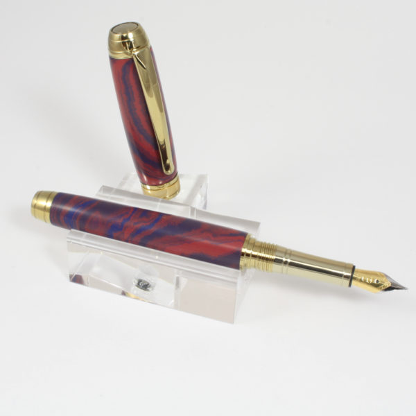 Vulpen - Ebonite ( Blauw - Rood) - Titanium Gold plating - Brushed Gold accent-0